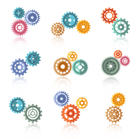 gear: Connected color gears on two-three icons set isolated vector illustration Illustration