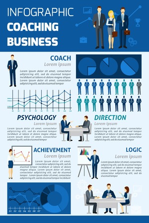 effective: Effective business coaching psychological analysis as a key to success infographic report presentation layout abstract vector illustration Illustration