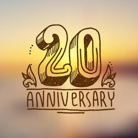 anniversary card: Anniversary celebration ceremony congratulations 20 sign hand drawn decorative card vector illustration