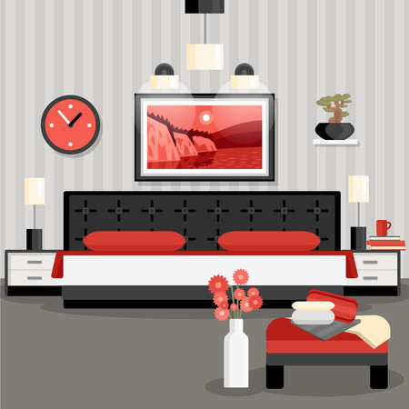 bedroom bed: Bedroom design cartoon concept with bed flowers lamps and painting vector illustration