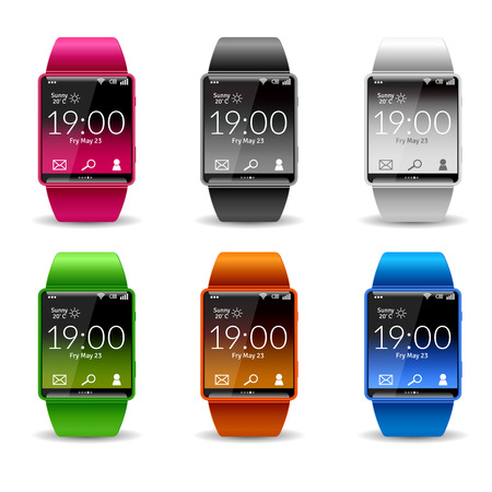 Smart wrist watch with wifi phone weather and email widget realistic color decorative icon set isolated vector illustration