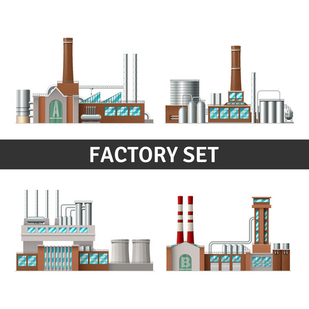conveyer: Realistic factory building set with chimneys windows and power isolated vector illustration Illustration