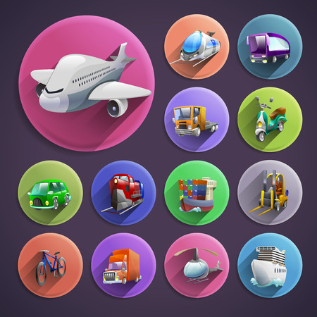 cartoon truck: Transport and logistics cartoon round icons set with plane and ship on violet background shadow isolated vector illustration