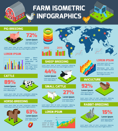 domestic animals: Domestic animals breeding and aviculture international farming production distribution statistic infographic report poster abstract isometric vector illustration