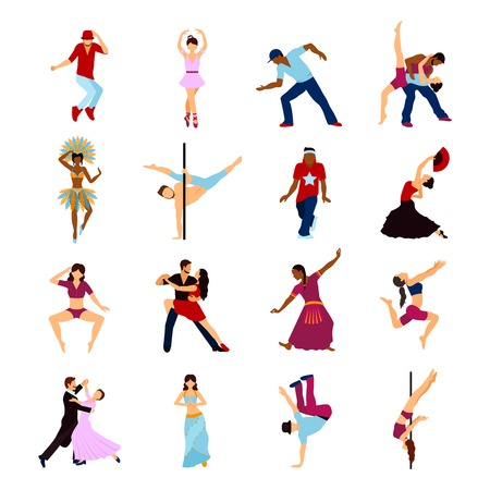 strip dance: People dancing sport and social dances icons set isolated vector illustration