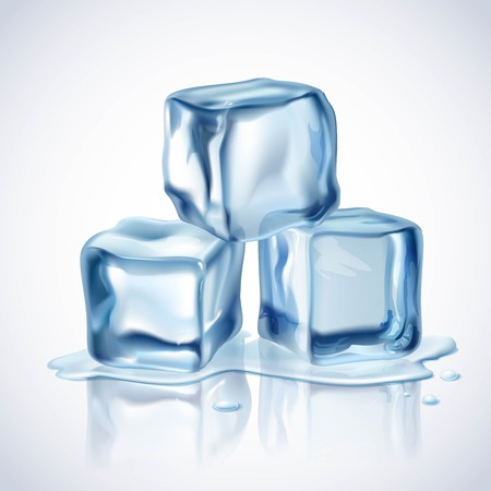 cubo: Realistas cubitos de hielo azul con gotas de agua sobre fondo blanco ilustración vectorial