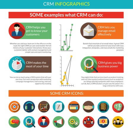 document management: Crm infographics set with client relationship management symbols and charts vector illustration