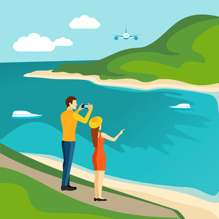 river bank: Tourists taking photo of the sandy river bank view international travel agency advertisement poster abstract vector illustration