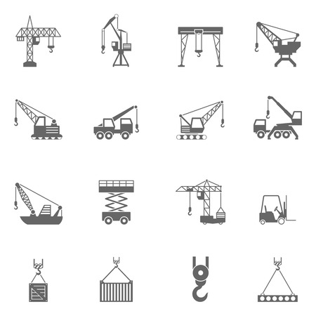 Cranes for different construction projects black icons set with tower and floating cranes abstract isolated vector illustration