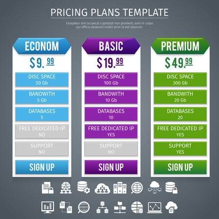 premium: Software econom basic and premium pricing plans template on grey background flat vector illustration