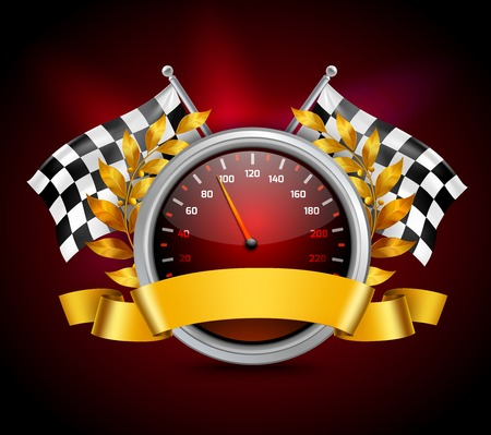 checkered: Race emblem with speedometer flags and laurel wreath realistic vector illustration