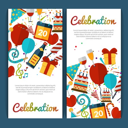 felicitaciones cumplea�os: Celebraci�n banners verticales fijados con s�mbolos del partido ilustraci�n vectorial aislado