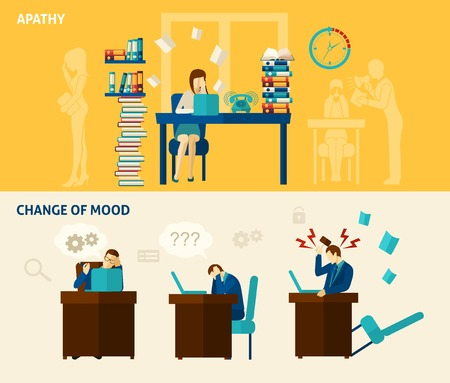 and depressed: Frustration horizontal banner set with apathy and change of mood flat elements isolated vector illustration Illustration
