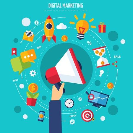 Digitale marketing concept met de menselijke hand houden platte reclame pictogrammen instellen vector illustratie
