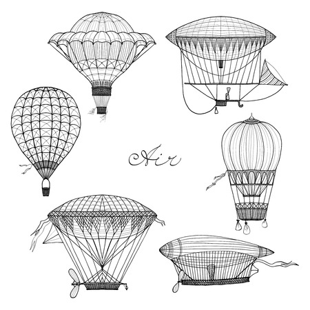 Old style balloon and airship doodle set isolated vector illustration