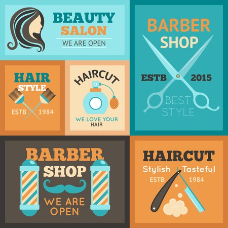 Hairdress beauty salon and barber shop poster set isolated vector illustration Illustration