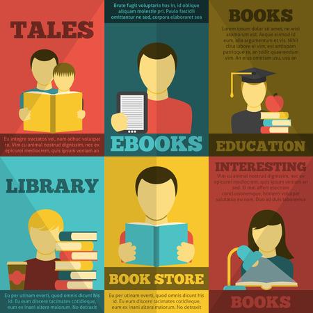 buchhandlung: Leseplakat mit Buchhandlung Bibliothek M�rchen und E-B�cher gesetzt flachen isolierten Vektor-Illustration Illustration
