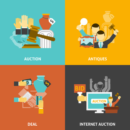 antik: Auktions Deal Icons mit Antiquitäten und Internet-Gebote gesetzt flachen isolierten Vektor-Illustration