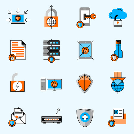 storage unit: Data protection line icons set with locks and shields flat isolated vector illustration