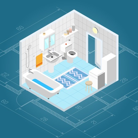 domestic bathroom: Bathroom interior isometric with 3d bath and toilet furniture icons vector illustration Illustration