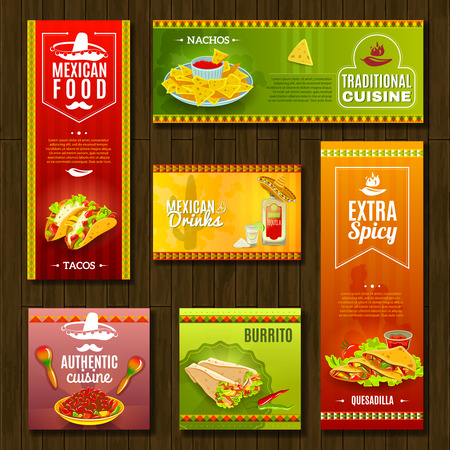 negocios comida: Café restaurante de comida tradicional mexicana y un bar conjunto brillante bandera color plano ilustración vectorial aislado