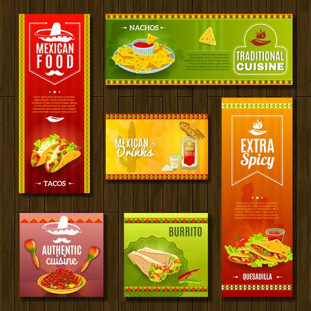étel: Mexikói hagyományos élelmiszer kávézó étterem és bár, lapos élénk színű banner készlet elszigetelt vektoros illusztráció Illusztráció