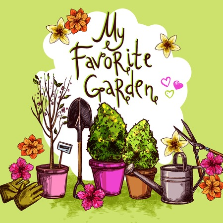mattock: Garden sketch set with seedling equipment and plants and flowers in pots vector illustration