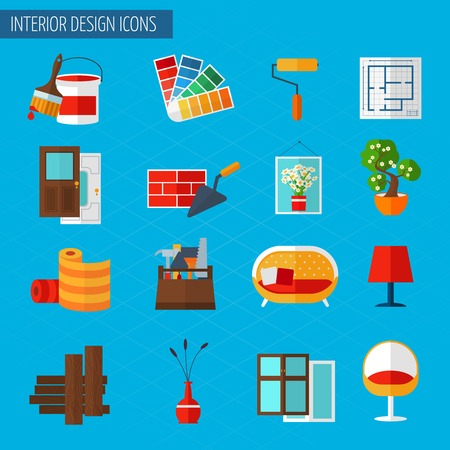 Interior design building repair and interior renovation icons set isolated vector illustration