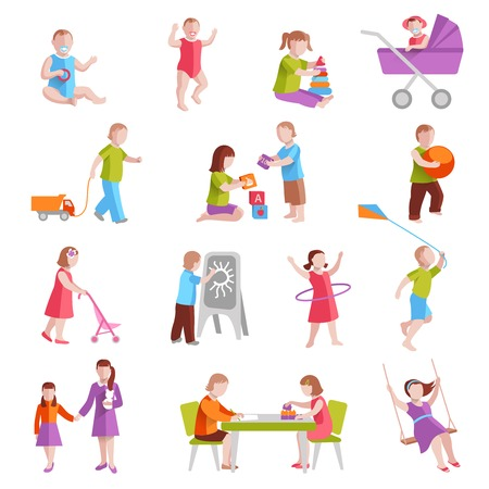 young people fun: Children playing indoors and outside flat characters set isolated vector illustration Illustration