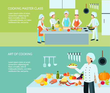 cocina caricatura: Cocinar clase magistral y el arte culinario de banner de color plana conjunto aislado ilustraci�n vectorial