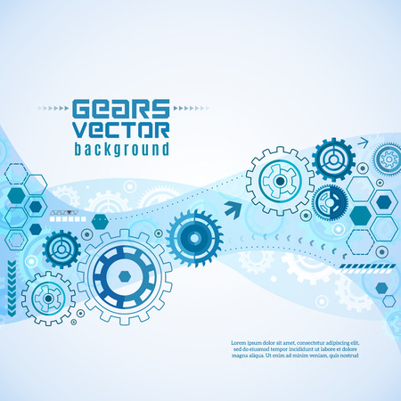 industrial design: Flat style various gears with cogwheels a macro closeup background vector illustration Illustration