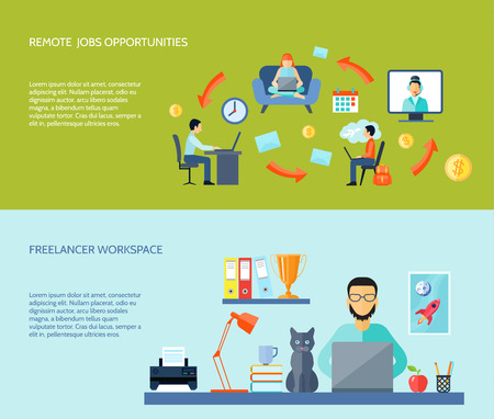 home business: Freelancer workspace at home and remote jobs opportunites flat color horizontal banner set isolated vector illustration