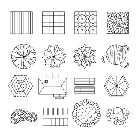 patio furniture: Outdoor patio tiles flower beds and sitting areas design elements black line collection abstract isolated vector illustration Illustration