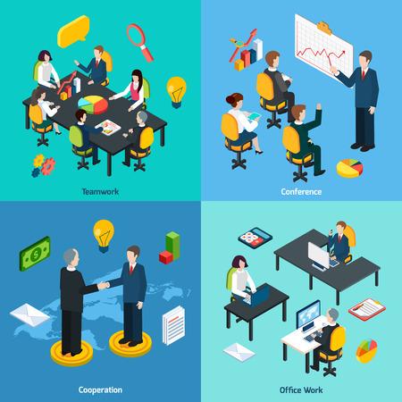El trabajo en equipo de negocios ideas innovadoras que comparten el concepto de conferencia y colaboración 4 iconos isométricos composición abstracta ilustración vectorial Ilustración de vector