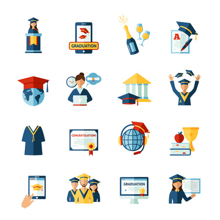 alumni: High school college graduation flat pictograms collection with official diploma and academic hat abstract isolated vector illustration