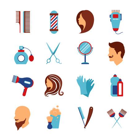 barbero: barber�a y accesorios de belleza para sal�n de peluquer�a iconos planos de peinado del cabello Resumen vector conjunto aislado Ilustraci�n