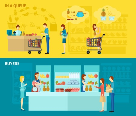grocery shopping cart: Buyer horizontal banner set with people standing in queue flat elements isolated vector illustration