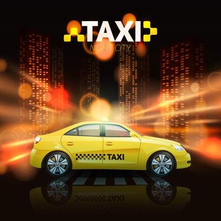 yellow taxi: Taxi car with city skyscrapers in spotlights on background vector illustration Illustration