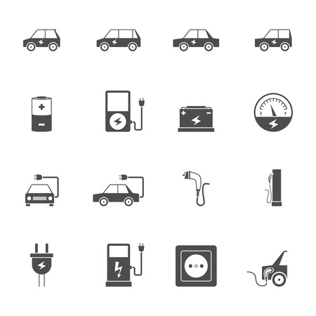 power plug: Electric car transport and charging station with socket and wire flat black icon set isolated vector illustration Illustration