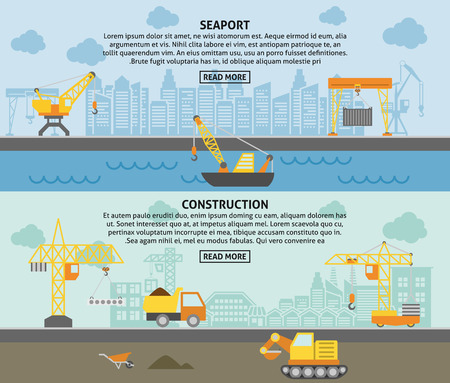 crane: Harbor freight pickup crane and building construction tower crane flat horizontal banners set abstract isolated vector illustration