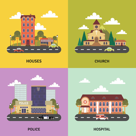 modern residential building: Urban landscape 4 flat icons square composition banner with police department and church abstract isolated vector illustration