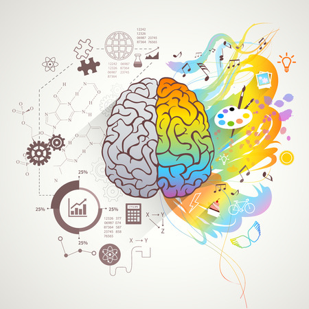 brains: Left and right brain concept with colors music and science flat vector illustration Illustration