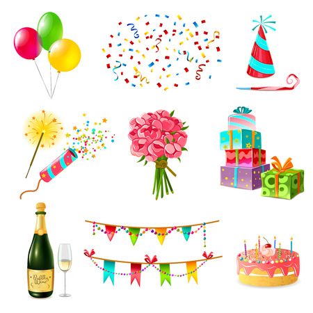 cake birthday: Celebration icons set with cake balloons champagne bouquet confetti and present boxes firecrackers garland whistle party hat isolated vector illustration
