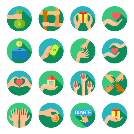 Long giving hands donations and fund raising organizations symbols flat round icons set abstract vector isolated illustration Illustration