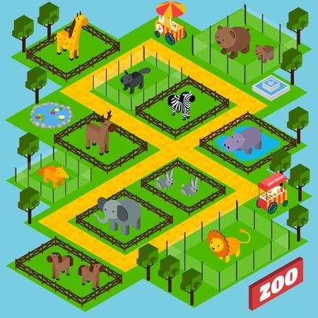 animaux du zoo: Isométrique concept de parc de zoo avec des animaux dans des cages 3d illustration vectorielle