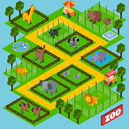 Isometric zoo park concept with 3d animals in cages vector illustration Illustration