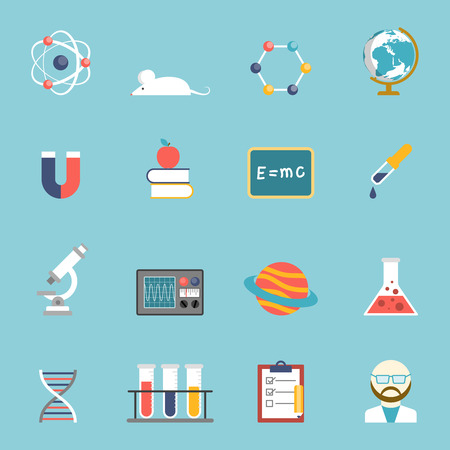 study icon: Science research and study symbols devices and accessories flat color icon set isolated vector illustration