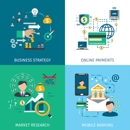 mobile banking: Banking marketing icons set with business strategy online payments and mobile services flat isolated vector illustration