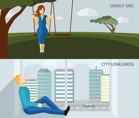 sitting: Lonely people flat horizontal banner set with sad girl swinging and man sitting alone at home isolated vector illustration Illustration