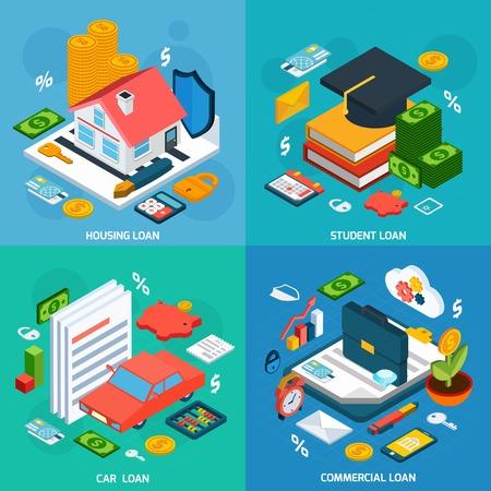 Concept de prêts fixé avec les étudiants de l'habitation et isométriques d'investissement de voiture icônes isolé illustration vectorielle Banque d'images - 44389535